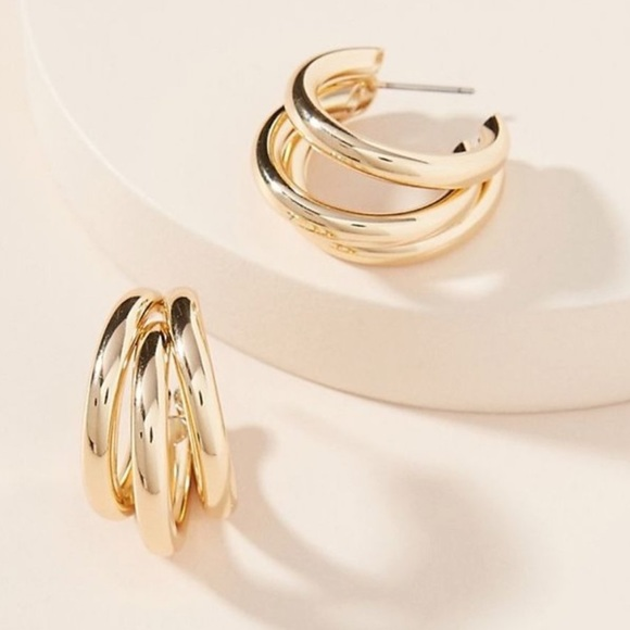 Anthropologie lauryn gold triple hoop earrings